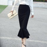 How To Buy Roman Cotton Spring And Autumn Thin Long Section Fishtail Skirts Black