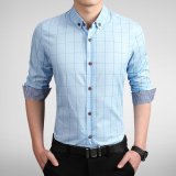 For Sale Men S Business Cotton Long Sleeve Check Shirt Blue Blue