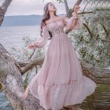 Purchase Women S Retro Boat Neck Chiffon Long Sleeves Dress