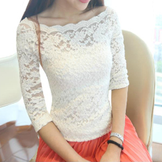Sale Autumn New Off Shoulder Lace Top White Half Sleeve Shirt White Half Sleeve Shirt China Cheap