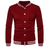 Cheap Autumn New Style Korean Slim Fit Men Clothing Baseball Collar Casual Sport Jacket Cardigan Coat Men Baseball Clothes Wine Red Intl