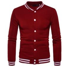 Autumn New Style Korean Slim Fit Men Clothing Baseball Collar Casual Sport Jacket Cardigan Coat Men Baseball Clothes Wine Red Intl Deal