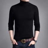 Review Men S Korean Style Slim Fit Turtle Neck Longsleeve Thin T Shirt Solid Color Black Black Other