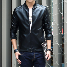 Mens Korean-Style Slim Fit Leather Jacket (black) By Taobao Collection.