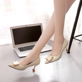 Lowest Price Spring New Style Buckle Pointed High Heel Pumps Beige