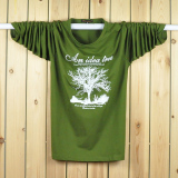 Shop For Loose Autumn Plus Sized Round Neck Cotton Long Sleeved T Shirt Army Green Money Tree Army Green Money Tree
