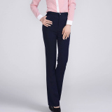 New Autumn Slim Fit Women High Waist Suit Pant Ladies Straight Business Formal Ol Office Work Trousers Plus Size Navy Blue