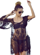 Autumn Summer Sexy See-Through Women Floral Lace Crochet Shirts Long Sleeve Loose Tops Blouses Black L/us 4-6 By Vococal Shop.