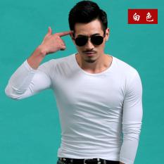 The Cheapest Men S Round Neck Slim Fit Tide Men Slim Fit Korean Style Cotton T Shirt Pure White Online