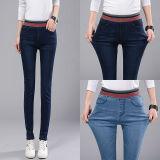 Autumn Winter Elastic High Waist Women Denim Jeans Stretch Slim Fit Pencil Pant Trousers Light Blue Cheap