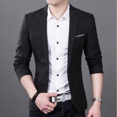 Latest Autumn Winter Men Slim Fit Fashion Cotton Blazer Suit Jacket Black Intl