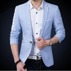 Promo Autumn Winter Men Slim Fit Fashion Cotton Blazer Suit Jacket Blue Intl