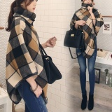 Sales Price Autumn Winter New Women S Lattice Fashion Shawl Coat Women British Cape Coat Intl
