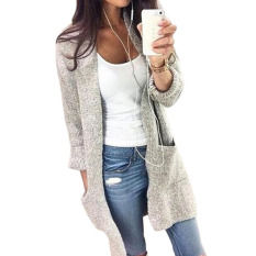Sale Autumn Winter Women Long Sleeve Loose Knitting Cardigan Cardigans Sweater Womens Knitted Female Coat Pull Femme Light Gray Intl Oem Branded