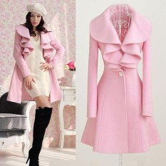 Sale Autumn Winter Women Wool Ruffles Coats Long Jackets Lady Wind Coat Trench Jacket overcoat Intl Oem