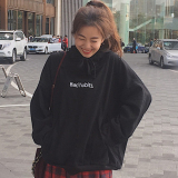 Buy Ulzzang Korean Style New Style Wind Lettered Pullover Hoodie Black China