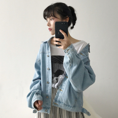 Low Cost Loose Korean Style Students Casual Long Sleeved Workwear Short Jacket Short Cowboy Jackets Coats Blue