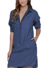 Auxo Plus Szie Women Vintage Jeans Mini Short Denim Dresses Button Denim Shirt Dress Blue Intl Best Price