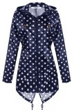 Azone Meaneor Women Girls Dot Raincoat Fishtail Hooded Print Jacket Rain Coat Navy Blue Singapore