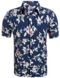 Sales Price Azone Mens Casual Short Sleeve Floral Button Down Shirt Blue Intl