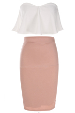 Azone Women Fashion Elegant Two Pieces Strapless Sleeveless Backless Ruffle Crop Tops And Solid Pencil Skirt Set Export Deal