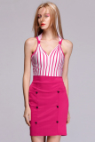 Azone Women S Sleeveless V Neck Striped Splicing Bodycon Party Casual Mini Dress With G String Rose Red Intl Oem Cheap On China