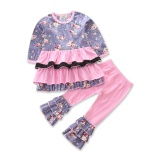 Baby G*rl Clothes Autumn Girls Clothing Set Long Sleeve With Ruffles Floral Print Tops Pants 2Pcs Cotton Kids Clothes Size 1 5Y Intl In Stock