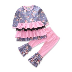 Baby G*rl Clothes Autumn Girls Clothing Set Long Sleeve With Ruffles Floral Print Tops Pants 2Pcs Cotton Kids Clothes Size 1 5Y Intl On Line