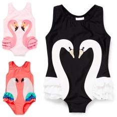 Latest Baby Girls Swimsuit Cartoon Kids Swimwear With Swim Cap Swan Bathing Suit Black Intl