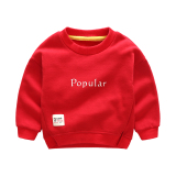 Baby Korean Style Plus Velvet Red Autumn And Winter Pullover Fleece Hoodie Red Coupon