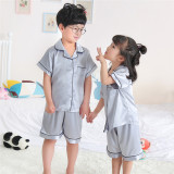 Best Rated Baby Silk Short Sleeve Summer Men S Pajama Children S Sleepwear Solid Color Silver Solid Color Silver