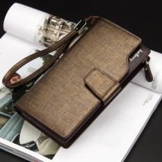 Baellery Men Long Wallet Leather Hand Bag Credit Card & Coin Holders with Hand Strap Gold - intl