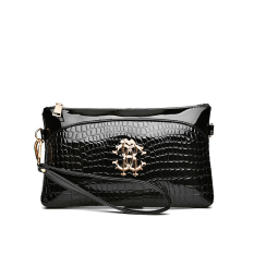 Sale Baglink Leather Clutch Bag Crocodile Pattern Prints Shoulder Messenger Bag Black Singapore Cheap