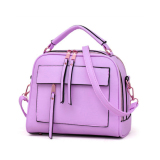 Baglink Women Casual Tote Bag Pu Leather Handbag Purple Free Shipping