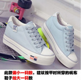 Store Bai Korean Style Spring And Summer Thick Bottomed Canvas Shoes Light Blue Is Too Small A Code Other On China