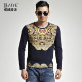 Price Compare Baiye Autumn Winter Long Sleeve Bronzing Print Slim Fit T Shirt 3318 Blue 3318 Blue