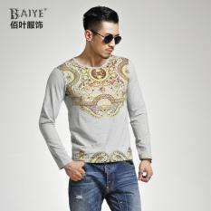 Price Comparisons Baiye Autumn Winter Long Sleeve Bronzing Print Slim Fit T Shirt 3318 Shallow Flower Gray 3318 Shallow Flower Gray