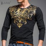 Cheapest Baiye Autumn Winter Long Sleeve Bronzing Print Slim Fit T Shirt White White