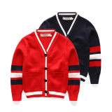 Best Price Boys Korean Style Striped V Neck Cardigan Red Cardigan Bladder Cuff White Red Cardigan Bladder Cuff White