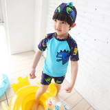 Baobao Korean Style Boxer One Piece Children S Bathing Suit Sea Blue Free Shipping