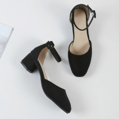 Sale Women S Korean Style Chunky Mid Heel Ankle Strap Closed Toe Sandal On China