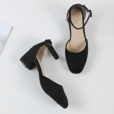 Women S Korean Style Chunky Mid Heel Ankle Strap Closed Toe Sandal Best Price