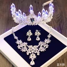 Baroque Red Headband Crown Hair Accessories Bridal Headdress Korean Wedding Accessories Birthday Party Princess Crown Hair Accessories Light Blue Three Piece 2 Ear Cheap