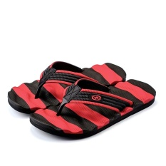 Great Deal Beach Characters Draggings Feet Anti Skid Slippers(Black Red) Intl
