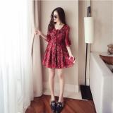 Cheap Beach Female Speaker Short Sleeved Skirt Chiffon Dress Dark Red