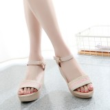 Sale Beach Leather Straw High Heeled Sandals Beige Other Original
