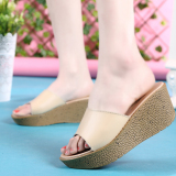New Wanmulin Women S Sloped Heel Thick Sole Sandals Beige Beige