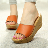 How To Buy Wanmulin Women S Sloped Heel Thick Sole Sandals Orange Orange