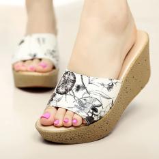 Deals For Wanmulin Women S Sloped Heel Thick Sole Sandals Pattern Black Pattern Black