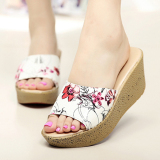 Buy Wanmulin Women S Sloped Heel Thick Sole Sandals Pattern Hong Pattern Hong Online China
